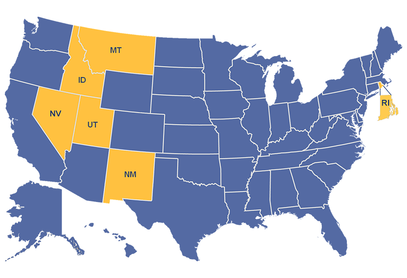 Map of the United States with Portal Partner states noted